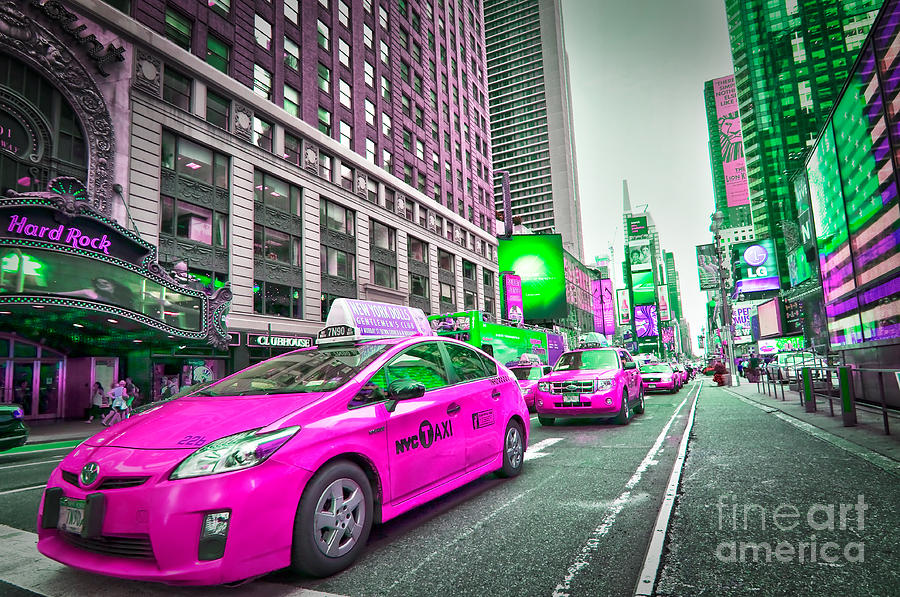 New York Digital Art - Crazy Cabs In Manhattan by Delphimages Photo Creations