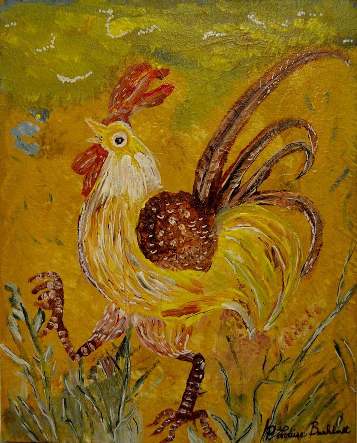 Chicken Painting - Crazy Chicken by Louise Burkhardt