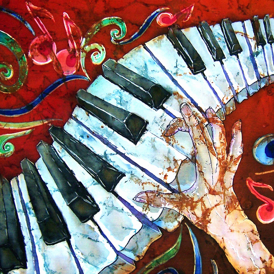 Piano Painting - Crazy Fingers Piano Square by Sue Duda