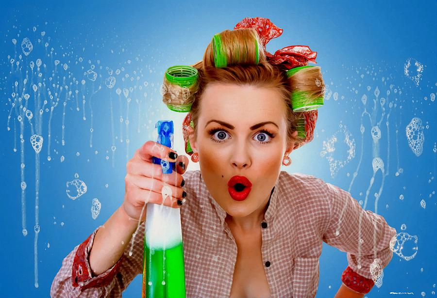 Girl Digital Art - Crazy Girl Cleaning by Gabriel T Toro