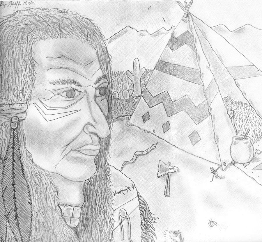 Indian Drawing - Crazy Horse Indian by Gerald Griffin