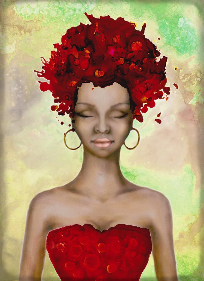 Crazy Red Hair Morning Painting by Lilia D