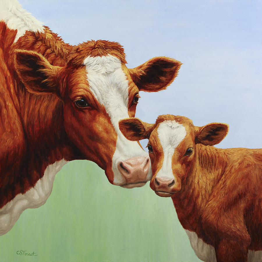 Cow Painting - Cream And Sugar by Crista Forest