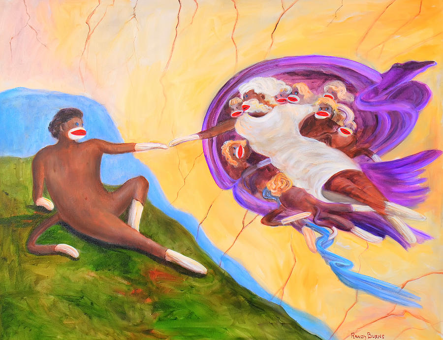 Creation Of A Sock Monkey Painting by Randy Burns