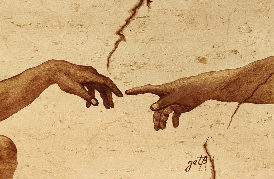 Creation Of Adam Painting - Creation Of Adam Hands A Study Coffee Painting by Georgeta  Blanaru