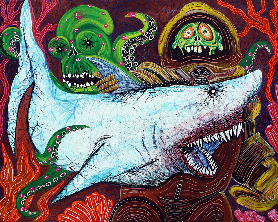 Shark Painting - Creatures Of The Deep by Laura Barbosa