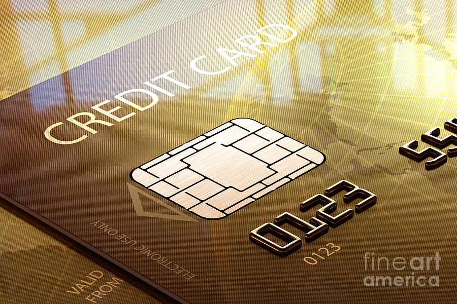 Credit Photograph - Credit Card Macro - 3d Graphic by Johan Swanepoel