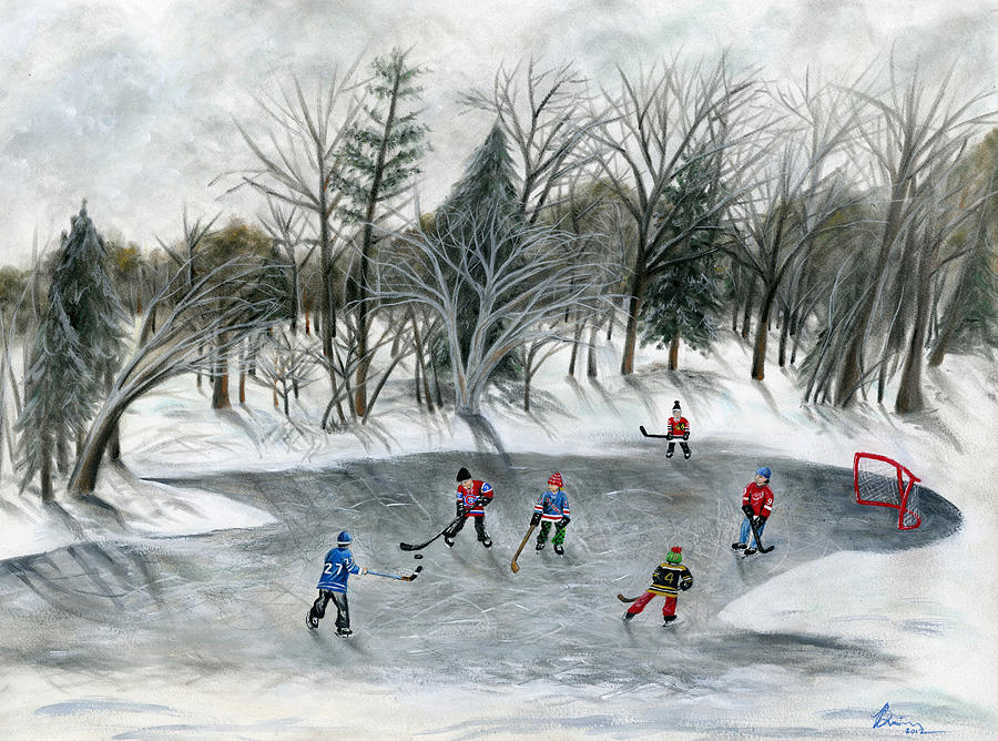 Hockey Painting - Credit River Dreams by Brianna Mulvale