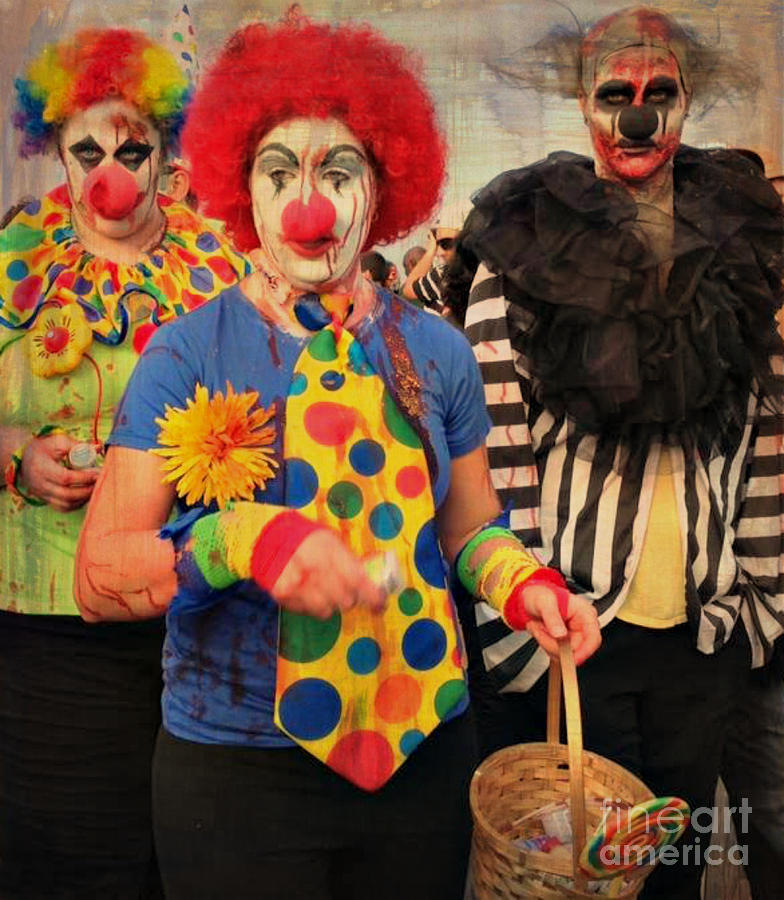 Clowns Photograph - Creepy Clowns by Lilliana Mendez