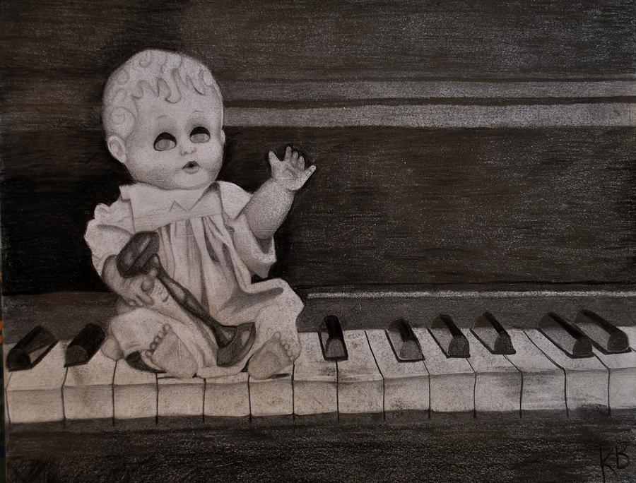 Creepy Doll Sitting On Dirty Piano Drawing by Katie Barrett