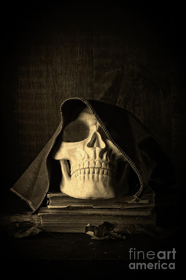 Halloween Photograph - Creepy Hooded Skull by Edward Fielding
