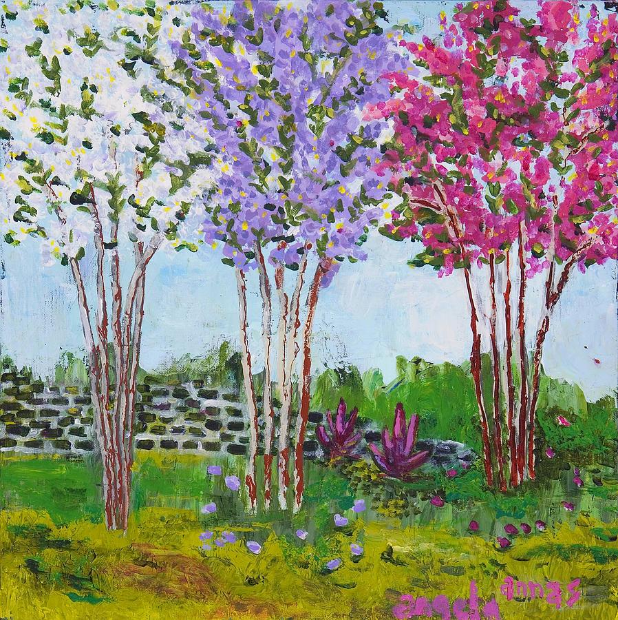 Crepe Myrtles Painting by Angela Annas