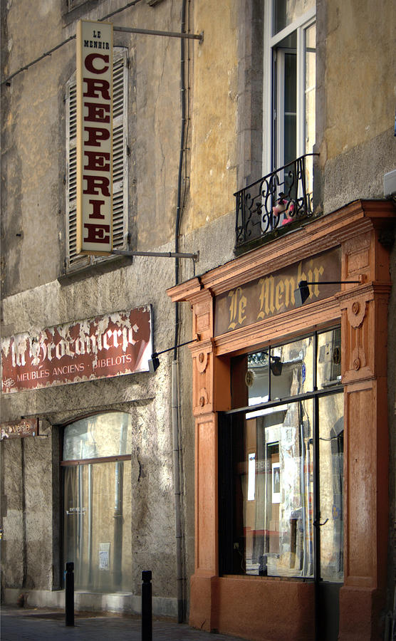 French Storefront Photograph - Creperie In Clermont Ferrand France by Georgia Fowler