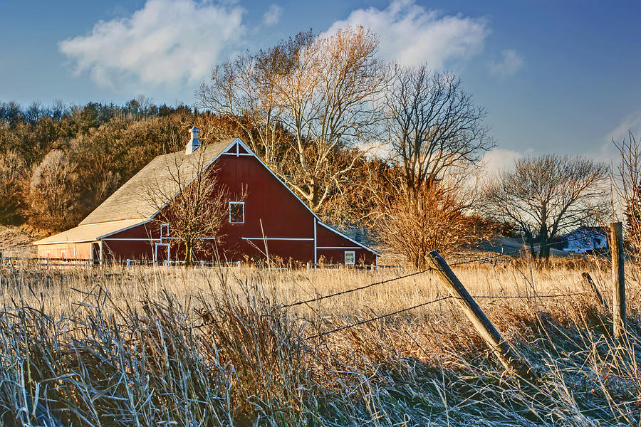 Agriculture Photograph - Crescent Barn In Winter by Nikolyn McDonald