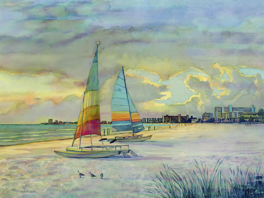Hobie Cats Painting - Crescent Beach Hobies At Sunset by Shawn McLoughlin