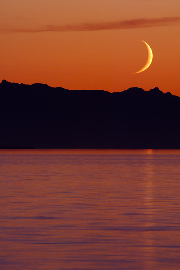 America Photograph - Crescent Moon by Jim Lundgren