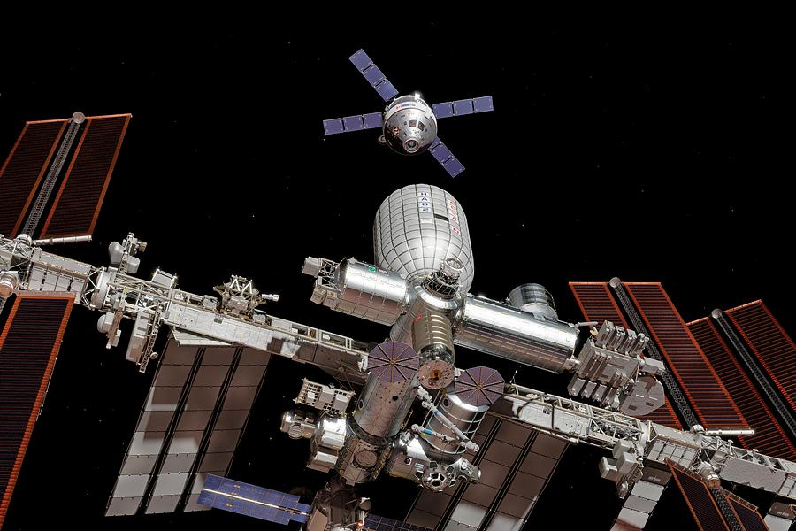Space Exploration Photograph - Crew Exploration Vehicle Approaching Iss by Walter Myers/science Photo Library