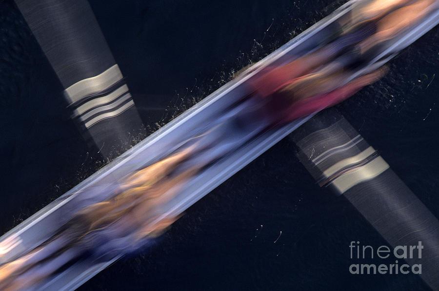 Crew Rowing Along Montlake Cut Sunrise Motion Photograph