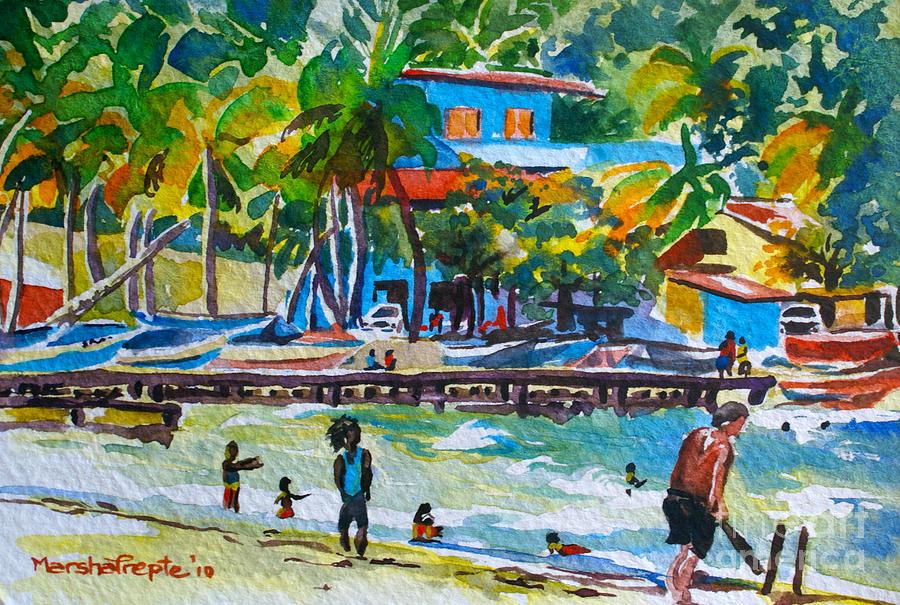 Watercolour Painting - Cricket at Maracas by Marsha Trepte