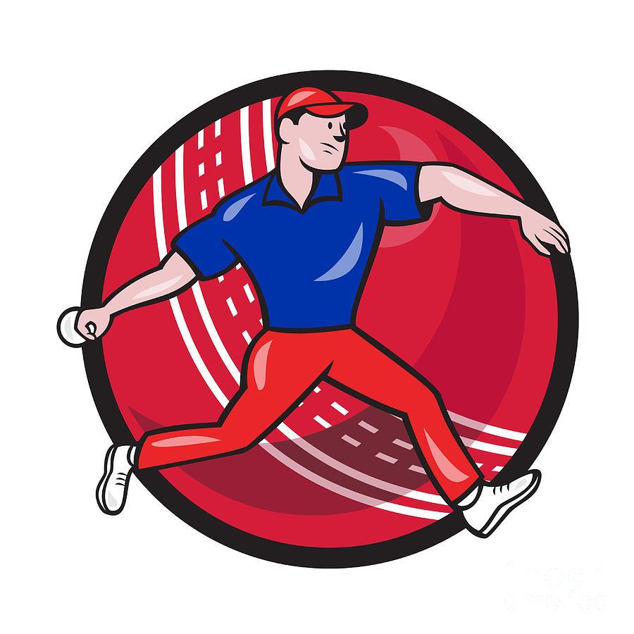 Cricket Digital Art - Cricket Bowler Bowling Ball Cartoon by Aloysius Patrimonio