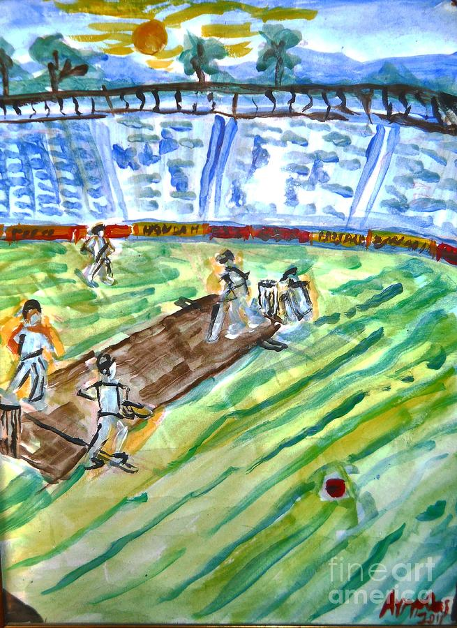 Outdoors Painting - Cricket-day by Ayyappa Das