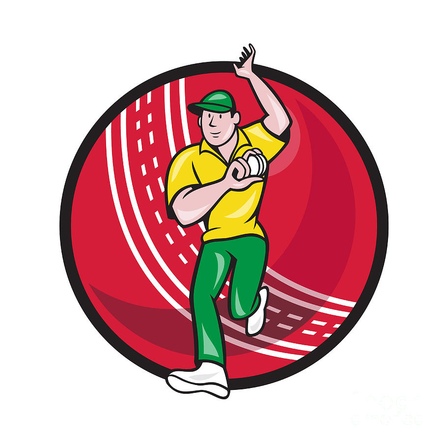 Cricket Digital Art - Cricket Fast Bowler Bowling Ball Front Cartoon by Aloysius Patrimonio