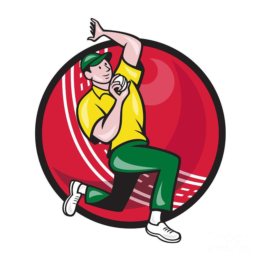 Cricket Digital Art - Cricket Fast Bowler Bowling Ball Side by Aloysius Patrimonio