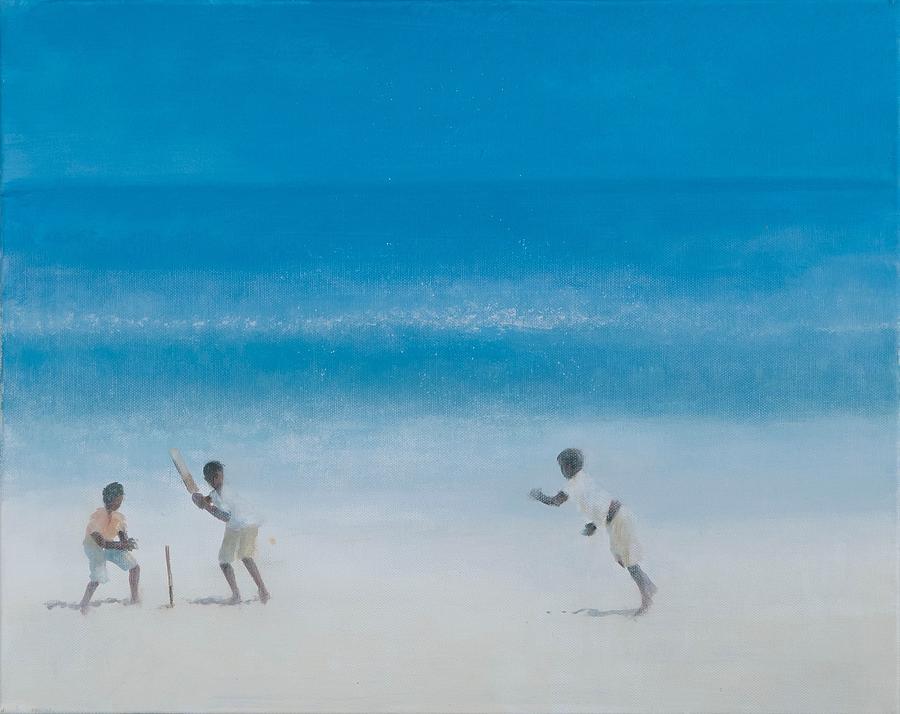 Cricket Photograph - Cricket On The Beach, 2012 Acrylic On Canvas by Lincoln Seligman