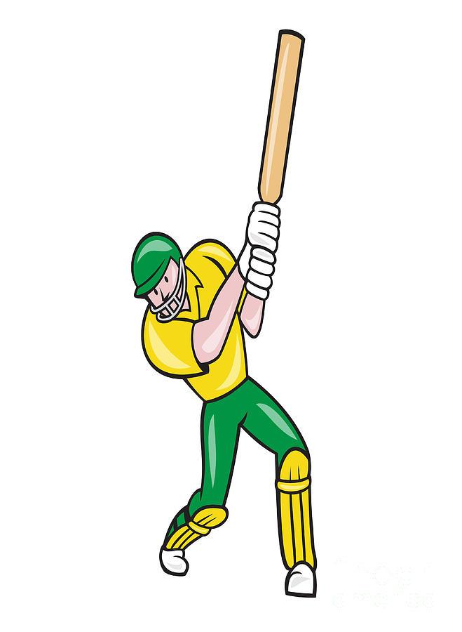 Cricket Digital Art - Cricket Player Batsman Batting Front Cartoon Isolated by Aloysius Patrimonio