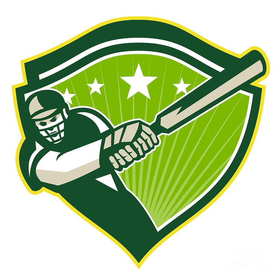 Cricket Digital Art - Cricket Player Batsman Star Crest Retro by Aloysius Patrimonio