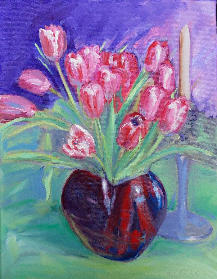 Tulips Painting - Crimson Chorus by Sarah Sheffield