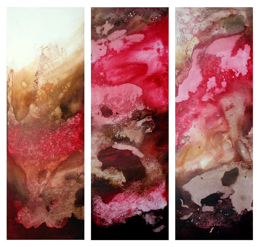 Abstract Painting - Crimson Cream Original Painting Madart by Megan Duncanson