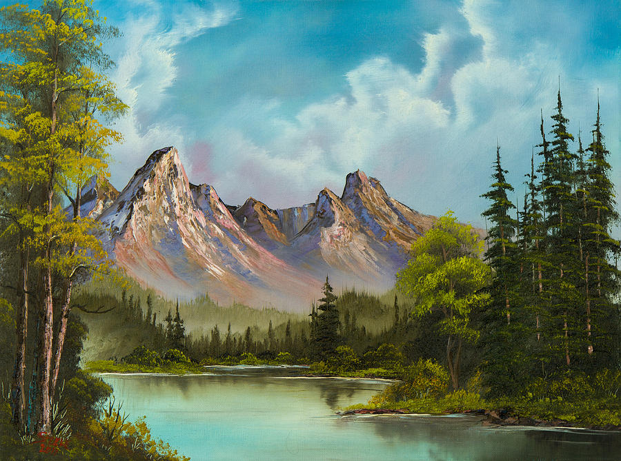 Landscape Painting - Crimson Mountains by C Steele