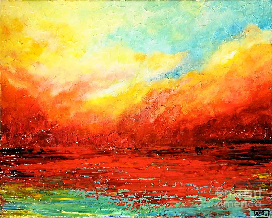 Acrylic Painting - Crimson No.2 by Teresa Wegrzyn