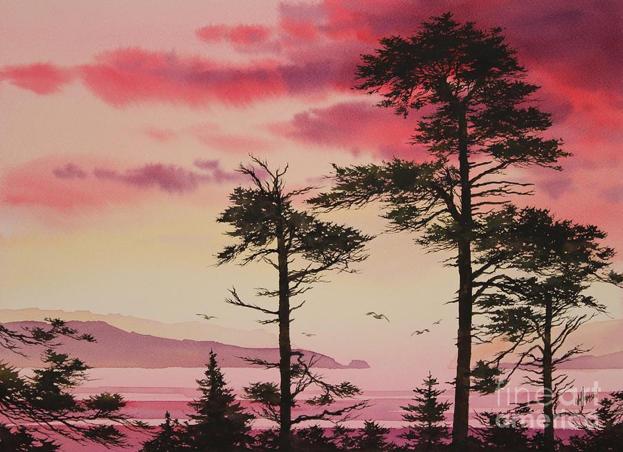 Sunset Painting - Crimson Sunset Splendor by James Williamson