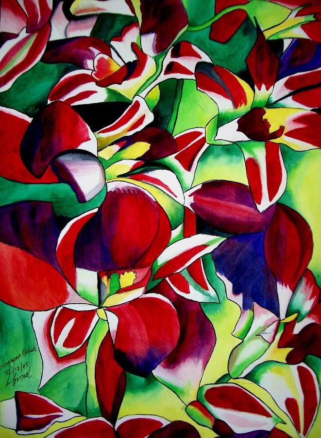 Orchids Painting - Crimson Tropical Singapore Orchids by Sacha Grossel
