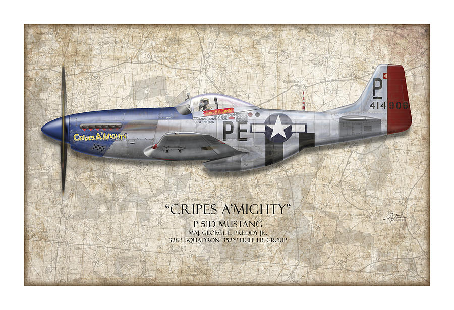 Aviation Painting - Cripes A Mighty P-51 Mustang - Map Background by Craig Tinder