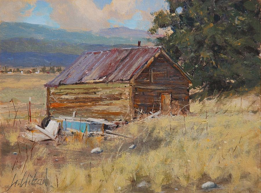 Landscape Painting - Cripple Creek Cabin by Greg Clibon