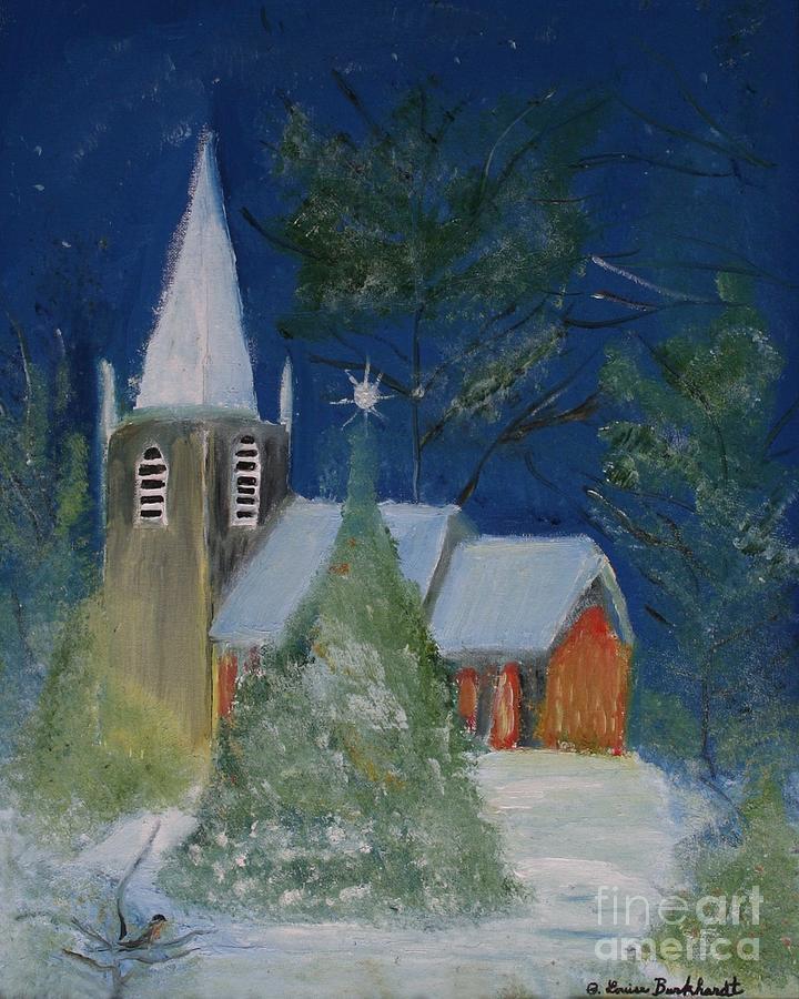Church Painting - Crisp Holiday Night by Louise Burkhardt