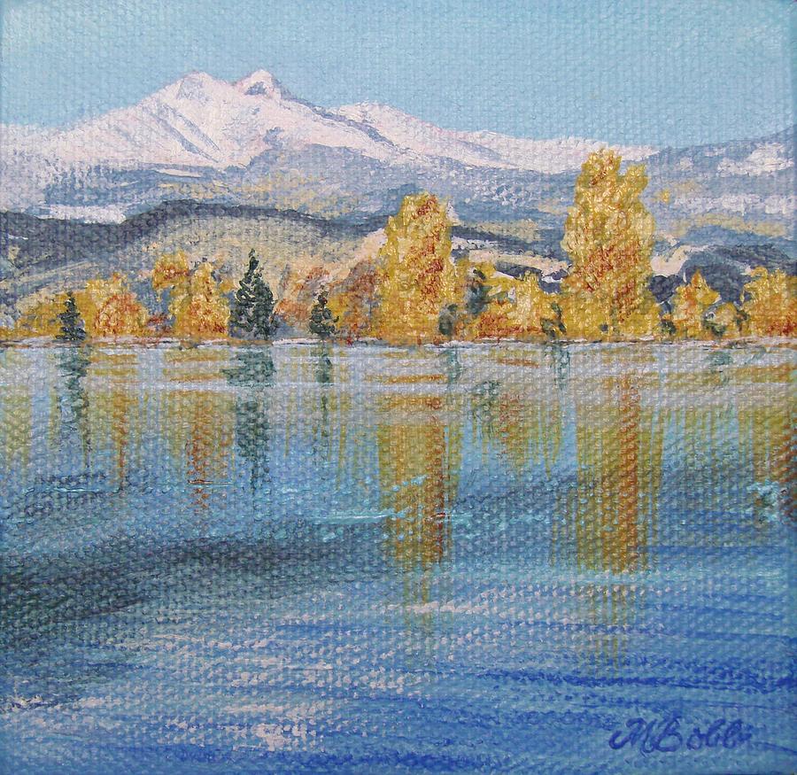 Longs Peak Painting - Crisp Morning by Margaret Bobb