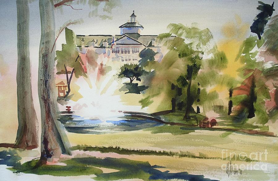 Kip Devore Painting - Crisp Water Fountain At The Baptist Home  by Kip DeVore