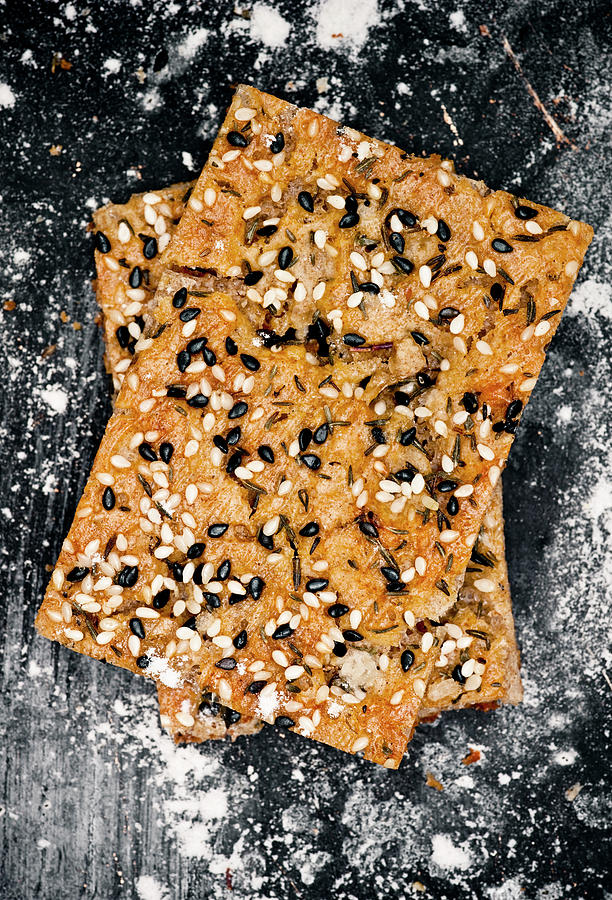 Crispbread With Thyme On Metal Sheet Photograph by Johner Images