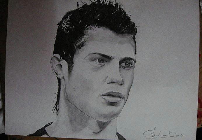 Cristiano Ronaldo Drawing By Sarthak Palwankar