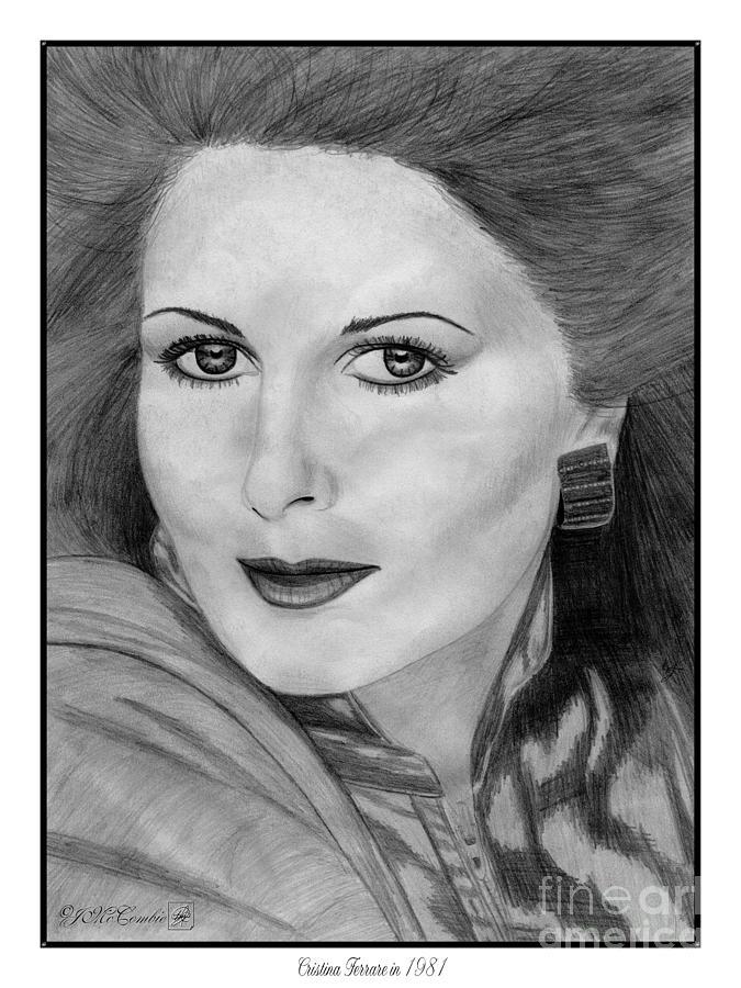 Cristina Ferrare Drawing - Cristina Ferrare In 1981 by J McCombie