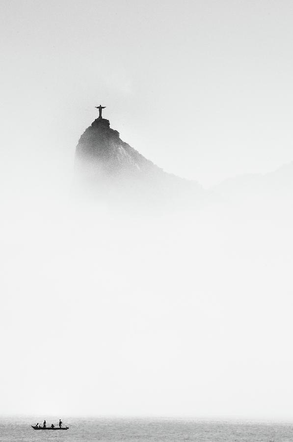 Brazil Photograph - Cristo In The Mist by Trevor Cole