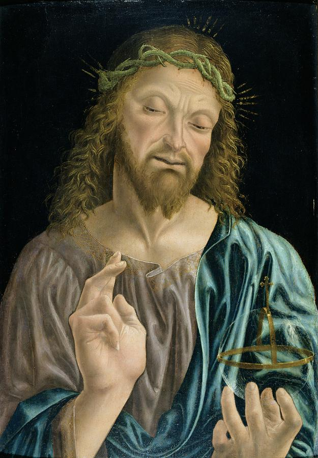 Orb Painting - Cristo Salvator Mundi, C.1490-94 by Master of the Pala Sforzesca