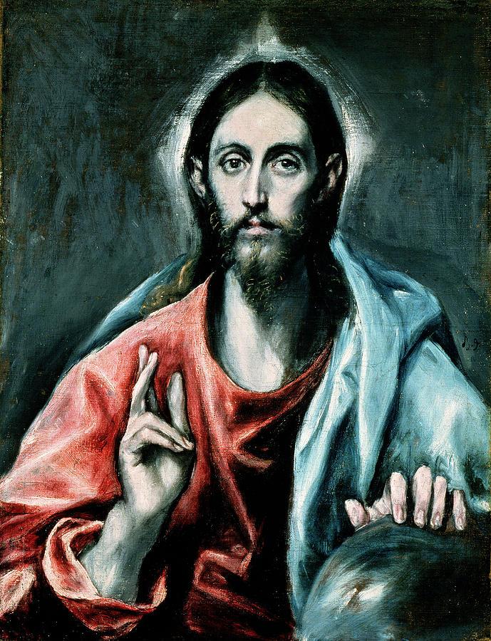 El Greco Painting - Cristo Salvator Mundi by El Greco