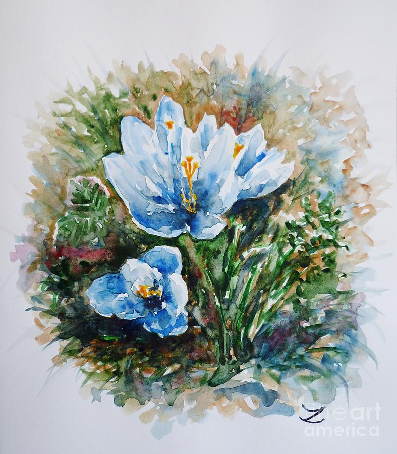 Crocuses Painting - Crocuses by Zaira Dzhaubaeva