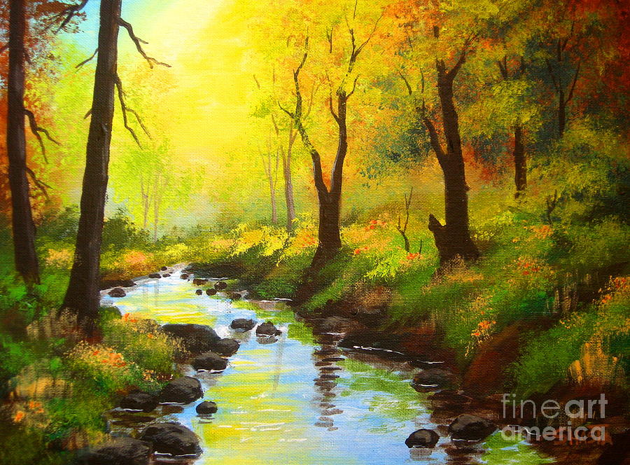 Landscape Painting - Crooked  Creek  by Shasta Eone