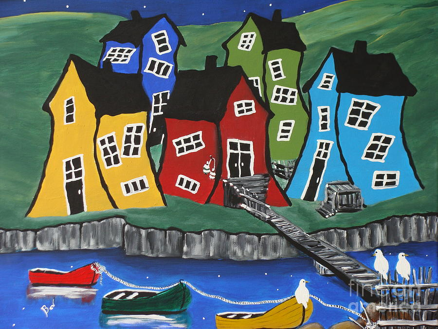 House Paintings crooked house fishing village paintingbeverly livingstone